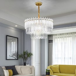 Round Crystal Chandelier Lighting BuleGold Frosted Glass Hanging Lamp Living Room Dining Room Smoke Gray Lustres De Cristal