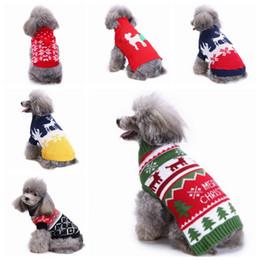 2020 abrigos para perros Suéter para perros Navidad Cachorros de punto Sudaderas Copo de nieve Pequeños abrigos para perros Reno Perros Ropa deportiva para perros Perrito de Navidad YW1670 rebajas abrigos para perros