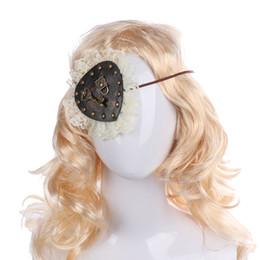 Pansements oculaires en cuir en Ligne-Cospty Femmes Halloween Costume De Fête Carnaval Vintage Steampunk Clé Dentelle PU En Cuir Pirate Patch pour Les Yeux Gothique Lolita Accessoires
