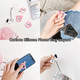 lanyard usb flash Promo Codes - Finger Ring Straps Cute Cartoon Lanyard For iPhone X Xs Xiaomi Huawei Samsung Camera USB Flash Drives Keys Accessories
