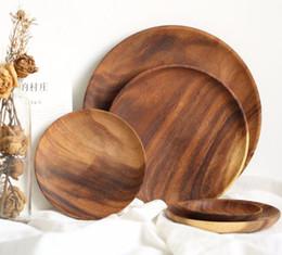Nuevo Plato de arte Acacia Platos de madera Platos Bandeja Plato de comida Postre de comida Plato de té Rectángulo cuadrado redondo Vajilla al por mayor desde fabricantes