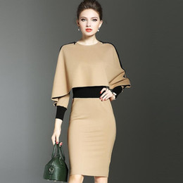 formal work women dresses Coupons - Fashion Elegant Women Dress Suit OL Work Office Lady Formal Business Wear Bodycon Slim Vintage Cape Coat Two Piece Set Outfit