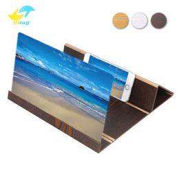Киноэкраны онлайн-12 дюймов HD экран лупа 3D сотовый телефон фильмы усилитель древесины зерна с Складной держатель стенд для iPhone XS MAX XR Samsung S9 Note9