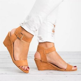 2019 sandalia cuña mujer romana Adisputent Sandals Women 2019 Wedges Summer Casual Shoes Strap Roman Gladiator Sandals Women Sandalias Mujer sandalia cuña mujer romana baratos