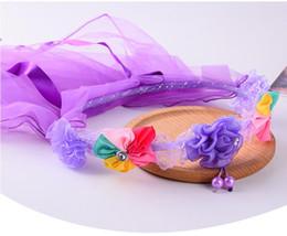 Capelli velo ragazze online-2019 Flower Headband Veil Bambini Bambini Hairband Headwear Wedding Bridal Flower Girls Hair Halloween Natale
