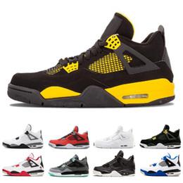 2019 chaussures simples Nike air jordan 4 4s Vente en gros 4 4s de basket-ball de basket-ball de basket-ball pour hommes Chaussures de sport simple jour Tattoo Raptors Classic Hommes Alternate Motorsport White Cement chaussures simples pas cher