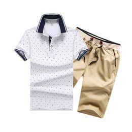 3d9d0d4b Discount mens yellow polka dot shirt - Cotton Mens Sets Summer Button Shirts  Sets Turn Down