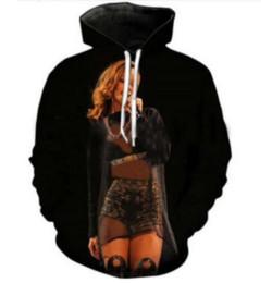 Rihanna 3d sweatshirt on-line-Nova Moda Camisola Homens / Mulheres 3d Hoodies Impressão Cantor Rihanna Unisex Fino Elegante Com Capuz Hoodies LMS047
