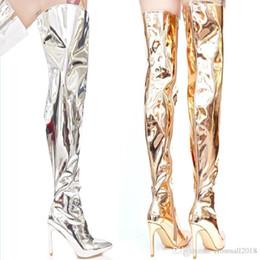 2019 ouro sobre botas de joelho Shinny Silver Gold Over the knee Botas altas Sapatos de salto alto Sapatos de bico longo Mulher de salto alto desconto ouro sobre botas de joelho