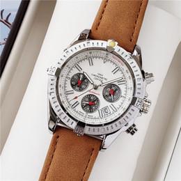 tipos de relojes marcas Rebajas Correa de cuero de la venta caliente para hombre del cronógrafo de cuarzo 1884 Shell Acero Tipo Deportes Marca de lujo del reloj de la colocación de acero para hombre relojes deportivos