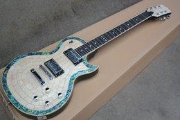 Hardware personalizzato per chitarra online-Chitarra elettrica bianca personalizzata di fabbrica con tastiera in palissandro, impiallacciatura di perle bianche, linea abalone, hardware cromato, offerta personalizzata