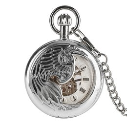 2019 мужчины наблюдают за цепями Necklace Pocket Watch for Man,Mechanical Silver Feather Carving Pocket Watches for boys, Silver Dial Chain Men's Watches дешево мужчины наблюдают за цепями