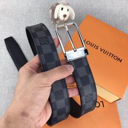 Cuerpo del pasador online-Cinturón de cuero de marca para hombre y mujer con hebilla de diseño informal diseño 3.4 rejilla cuerpo de cinturón de café negro Buena calidad se puede usar al por mayor