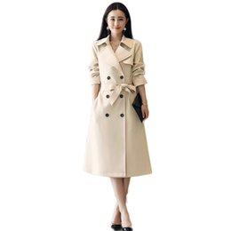 9ff6cd93c93 2019 New Spring Autumn British Style Trench Female Long Coat Women Double  Breasted Adjustable Waist Windbreaker Outerwears X55