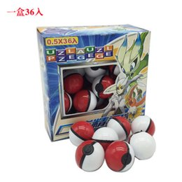 figure pets Coupons - Pikachu Anime Cartoon Mini Ball with Doll Card Stickers Crystal Pet PokeBall ABS Classic Pvc Ball Toys Magic Baby Figures Ball 36Pieces Lot