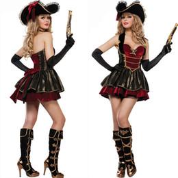 disfraces de carnaval blanco nieve Rebajas Traje de Guerrero pirata cruel mares del Caribe Adulto Mujeres pirata de Halloween del vestido del traje femenino Fantasias de lujo del partido de Cosplay