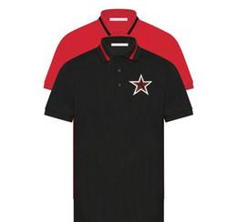 patchs étoiles blanches Promotion 19SS designer italien coton perle noire décoration poitrine col en dentelle rouge polo rouge noir et blanc étoiles Patch Polo