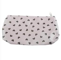Estuche rígido bolsa de cosméticos online-Dulce bolsa de cosméticos de maquillaje linda del corazón del rosa del bolso de la cremallera del estuche rígido precioso Aseo bolsa 36pcs / lot