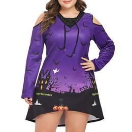 Elegante abito da sera online-Elegante Bar Donna 4XL Plus Size Halloween stampa mini abito in chiffon Ladies manica lunga irregolare terrore Night Sky abito corto H24