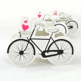 bicicleta de papel Rebajas 10 piezas Caja de papel con forma de bicicleta Bicicleta Cajas de dulces Paquete de favores de boda Bolsa de favor de fiesta de cumpleaños Caja de regalo de embalaje de galletas de chocolate