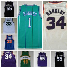 Baloncesto raro online-Camiseta de baloncesto retro rara Larry Bird Johnson Stockton Karl Malone Jason Williams Ewing Gary Payton Kemp Barkley BOGUES Jersey NCAA