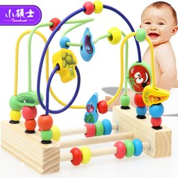 wooden maze beads Promo Codes - Wooden Math Toy Counting Circles Bead Abacus Wire Maze Roller Coaster Montessori Educational For Baby Kids J190427