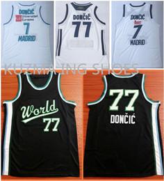 a25e2b23d88d Slovenija basketball jerseys Luka  77 Doncic all stitched wear Europea  madrid  7 Player black world team game uniform