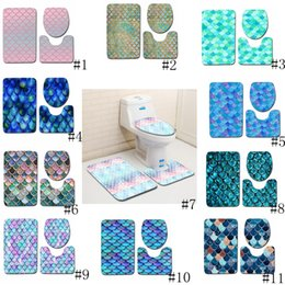 stuoia antisdrucciolo della toletta Sconti Scala di pesci stampato tappetini da bagno 3pcs / set antiscivolo bagno tappetini igienici copertina bagno tappeto Tappeti Mat 11 stili GGA2232