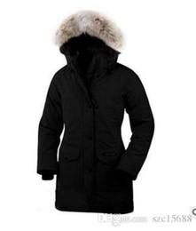 2019 venta marca canadiense damas al aire libre juego de la nieve expedición largo abajo de la capa Canadá diseñador de la marca mujeres por la chaqueta desde fabricantes