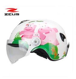 Wholesale 2019 Neuer ZEUS Kindermotorradhelm ZS ME Kindersicherheitskappe Kindermotorradhelme aus ABS W PC Linsenvisier Größe S M