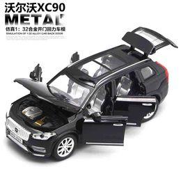 Carro de brinquedo de porta aberta on-line-1:32 diecast cars volvo xc90 modelo toy open doors pull pull back luz da música toys para crianças dos miúdos