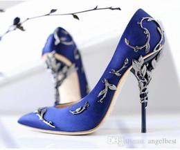 Vestidos de fiesta de seda online-Últimas Nuevas Flores de Metal Zapatos de Vestir de Novia de Boda de Tacón Alto Sexy Zapatos de Seda NupcialSpring Summer Prom Party Shoes Envío de la gota