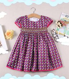 vestido de lunares con cinturón Rebajas INS New Stylish Little Girls Vestidos de manga corta cuello cuadrado lunares cinturón princesa Girls A-line Complicado coser niños ropa