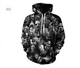 Sudadera con capucha de la camiseta del cráneo 3d del mens online-Diseñador Otoño Sudaderas Con Capucha Para Hombres Sudaderas 3D Cráneos Patrón Amantes Para Hombre Abrigos Con Capucha Sudadera Con Capucha Tops Ropa S-5XL