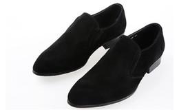 2019 scarpe nere per gli sposi Marchio rosso Bottom Mocassini Groom Men Luxury Party Scarpe da sposa Designer NERO VERNICE IN PELLE Suede Dress Shoes Per Uomo Slip On Flats sconti scarpe nere per gli sposi