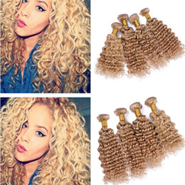 2019 tessuto indiano dei capelli umani Honey Blonde Virgin Indian Deep Curly Human Hair Weave 4 Bundles Deals # 27 Strawberry Blonde Hair Hair Double Extensions 4Pcs Lot tessuto indiano dei capelli umani economici