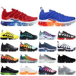 Foto di rosa nere online-2019 Black Nike vapormax Tn Plus Rainbow Photo Blu Scarpe da corsa Uomo Donna Sneakers Scarpe da ginnastica sbiancate con strisce Aqua Scarpe da ginnastica di design
