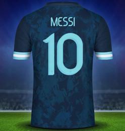 Jersey di qualità del messi online-19-20 Argentina 10 Messi 21 Camicie Dybala Jersey di calcio di qualità tailandese, casa Fuori nero su misura 11 Di Maria 22 L.MARTINE Calcio Wear