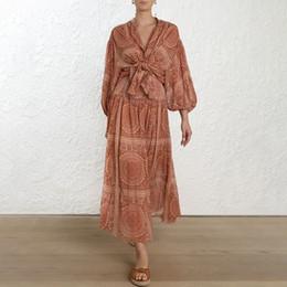 vestidos de cuello alto midi Rebajas Vestido de las mujeres de impresión de la vendimia soporte de la manga de la linterna botón de cintura alta Tamaño grande vestidos midi moda femenina 2019 primavera