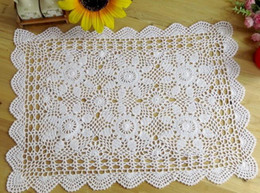 toalha de crochet quadrada Desconto Requintado DIY luxuoso Crochet Toalha De Mesa Branca Tampa De Toalha De Jantar Doilies Rendas De Algodão Quadrado Handmade Toalha De Mesa Para O Casamento
