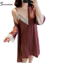 Smmoloa Sexy Women Silk Robe Gown Sets Lace bathrobe Two Pieces Sleepwear  women Sleep Set 671a74b35