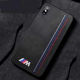 funda de coche de lujo iphone Rebajas Lujo suave giro piel bordado BMW Motorsport Sport Car Case para iPhone XS Max 11 Pro Max XR X 8 7 6 Plus