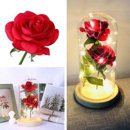 2019 deseando flor 2 colores LED flor de rosa simulación sensación que deseen botella regalo del día de San Valentín amor eterno rosa decoración adornos T8I060 deseando flor baratos