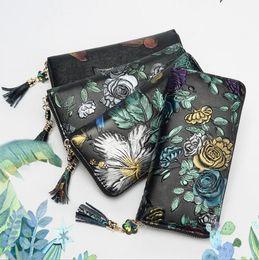 b43cda90c Estilo étnico hecho a mano bolso de mujer cuero pintado monedero femenino  larga sección 2019 nueva personalidad cremallera señoras cartera bolso de  embrague
