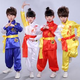 chinesische kampfkünste Rabatt Kampfsportshow für Kinder, Kleidung mit kurzen Ärmeln, chinesische Kung-Fu-Kleidung für Kinder, Jungen / Mädchen, Tanzkostüme