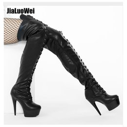 15cm High Heel Stiletto Platform Thigh High Boots Black Latex Lace Up  Stripper Heels Sexy Feitsh Shoes For Man Stage Show Plus Size a0b2e8ef820d