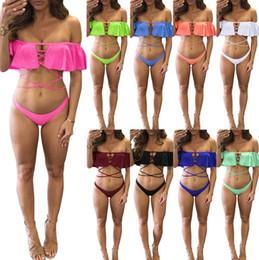 2019 bikinis de cadena más calientes Conjunto de bikini con hombros descubiertos para mujer, 9 colores, traje de baño ahuecado, traje de baño bandeau para mujer, caliente OOA6915 rebajas bikinis de cadena más calientes