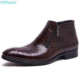 Qyfcioufu 2019 Genuine Cow Leather Slip On Men Dress Shoes Fashion Retro Comfortable Crocodile Skin Shoes Business Casual Shoes Formal Shoes Shoes
