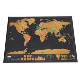 Sticker mural de voyage en Ligne-De luxe Effacer Noir Carte Du Monde Gratter Carte Du Monde Personnalisé Grattez Voyage pour Carte de La Maison Décoration Stickers Muraux