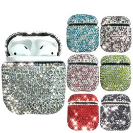 Fones de ouvido auriculares diamantes on-line-Para airpods case diamante de luxo decorativo para apple case acessórios sem fio bluetooth fone de ouvido capa protetora saco shell case